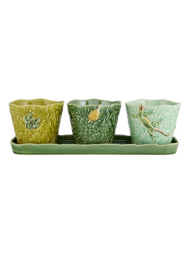 Bordallo Pinheiro Garden of Insects Set of Vases with earth bugs Decorated 65019407