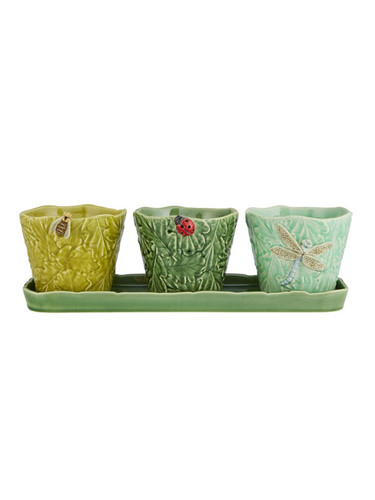 Bordallo Pinheiro Garden of Insects Set of Vases with flying bugs Decorated 65019406