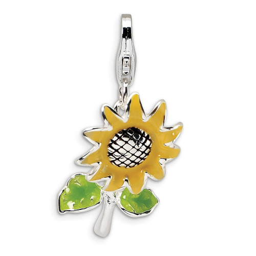 3-D Enameled Sunflower Charm Sterling Silver QCC400