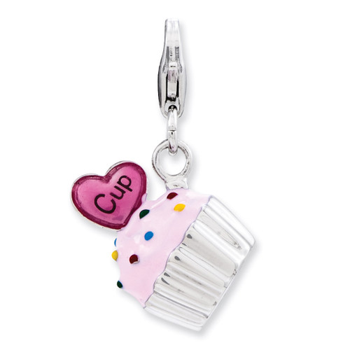 3-D Cupcake and Heart Charm Sterling Silver Enameled QCC802
