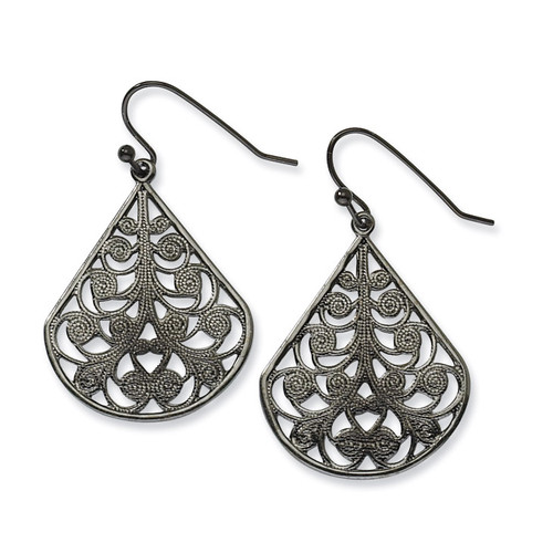 Black-plated Filigree Dangle Earrings BF1012