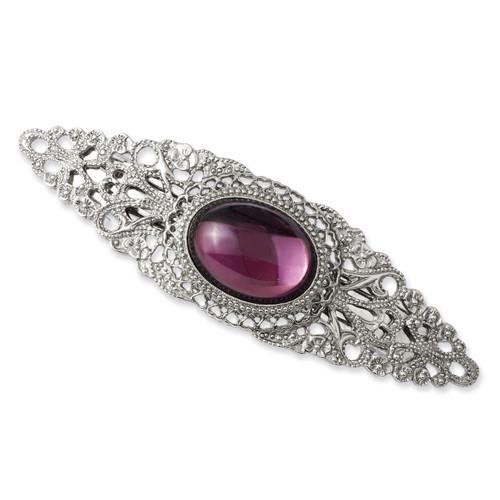 Purple Cabochon Crystal Barrette Silver-tone BF1633