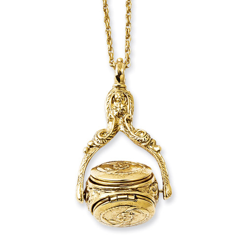 3 Locket 30 Inch Necklace Gold-tone BF1771