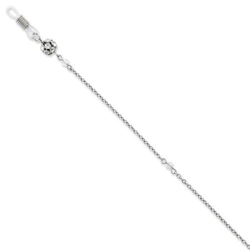 Clear Crystal 30 Inch Eyeglass Holder Chain Silver-tone BF1801