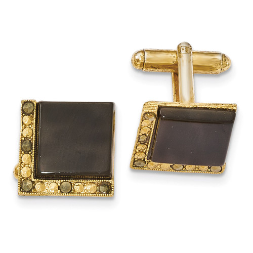 Black Onyx & Marcasite Cufflinks Gold-tone BF2712