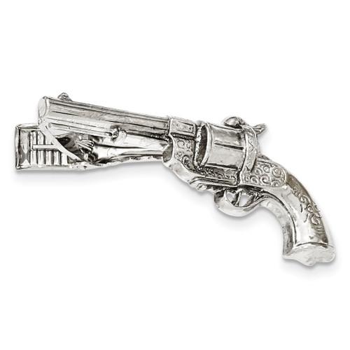Gun Textured Tie Bar Silver-tone BF2721