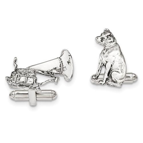 1 Dog 1 phonograph Cufflinks Silver-tone BF2737