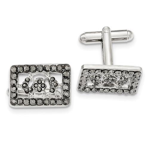 Black Crystal Rectangle Cufflinks Silver-tone BF2750