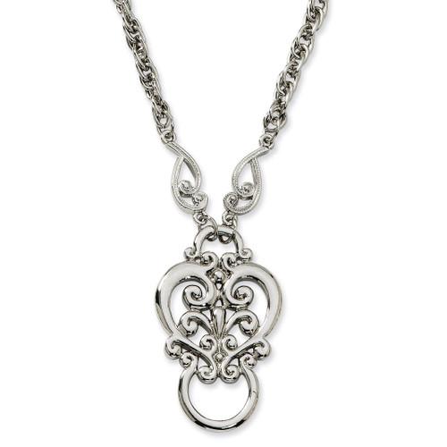 Fancy Scroll Eyeglass Holder Necklace Silver-tone BF588