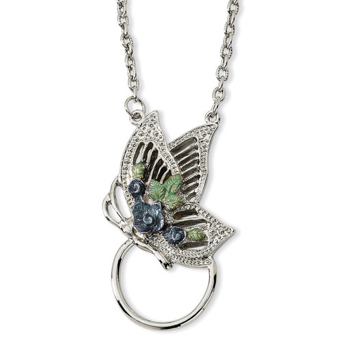 Butterfly Enameled Flower Eyeglass Holder 28 Necklace Silver-tone BF592