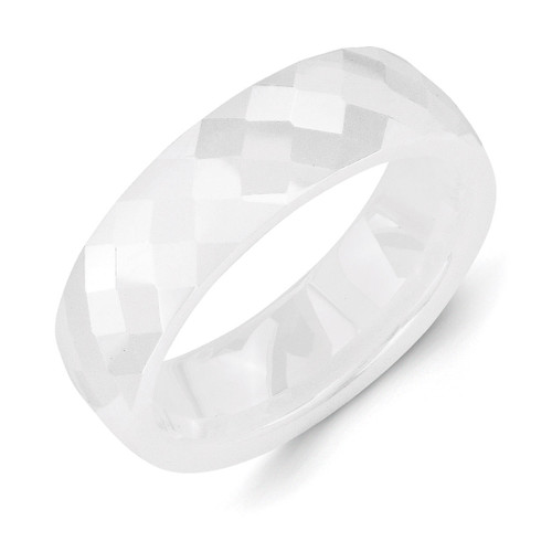 White 6mm Faceted Polished Band - Ceramic CER48