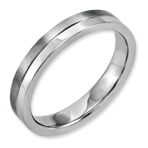 4mm Brushed & Polished Band - Stainless Steel SR144