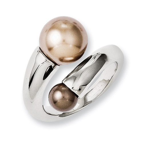 Champagne & Brown Simulated Pearl Ring - Stainless Steel SR231