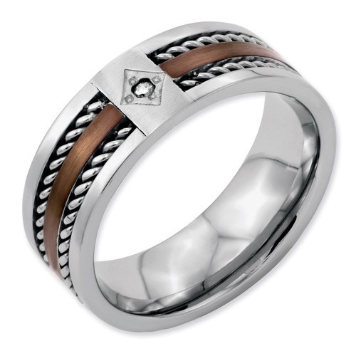 Brushed Chocolate IP-plated with Diamond 8mm Polished Band - Stainless Steel SR50
