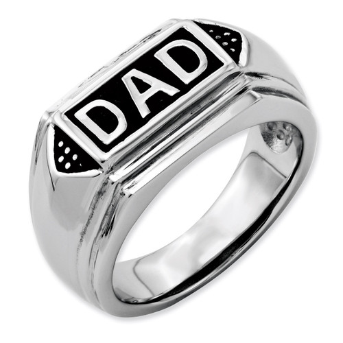 Black Enamel Polished Dad Band - Stainless Steel SR82