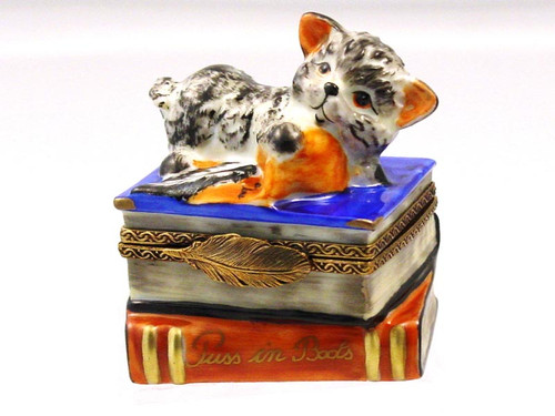 Chamart Cat On Book Limoges Box 2000\081