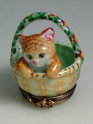 Chamart Basket With Kittens Limoges Box 2006\005