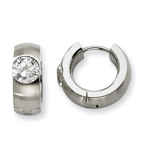 Synthetic Diamond Brushed & Polished Round Hinged Hoop Earrings - Stainless Steel SRE356