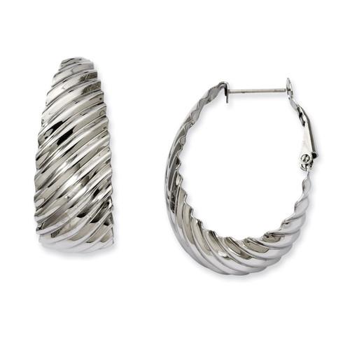 35mm Textured Oval Hoop Earrings - Stainless Steel SRE498