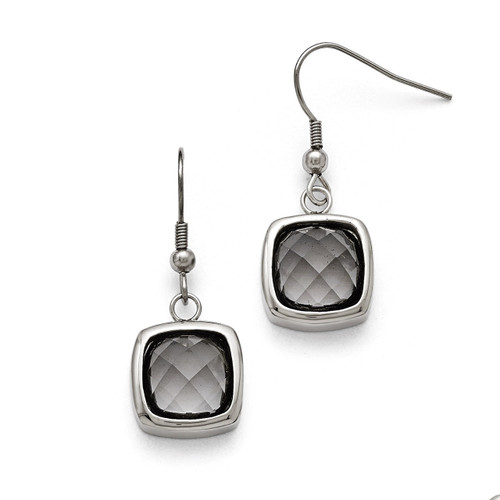 Polished Square Glass Shepherd Hook Earrings - Stainless Steel SRE772