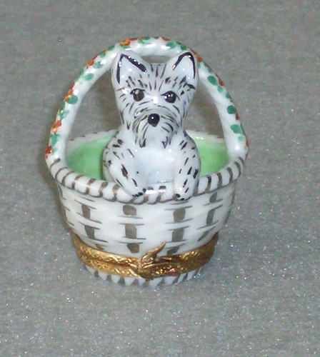 Chamart Basket With Puppy Limoges Box 2006\006