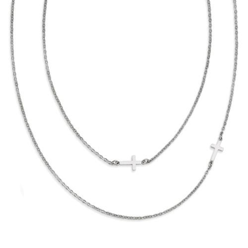Layered Sideways Cross Necklace - Stainless Steel SRN1206