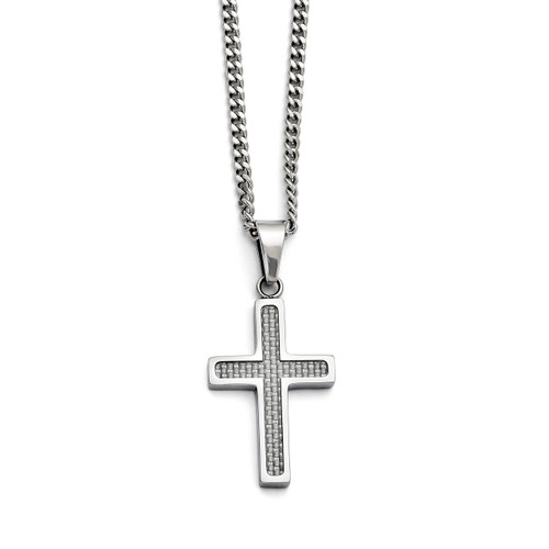 Polished Grey Carbon Fiber Small Cross Necklace - Stainless Steel SRN1409