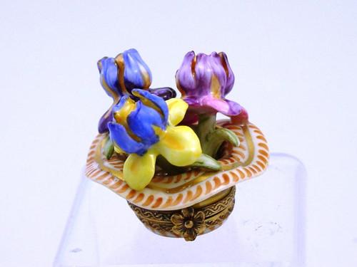 Chamart Basket Of Irises Limoges Box 2001\038