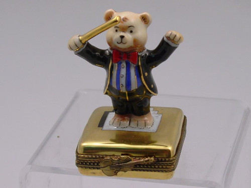 Chamart Bear Orchestra Conductor Limoges Box 2000\082CD