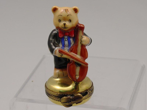 Chamart Bear Orchestra Cello Limoges Box 2000\082CL