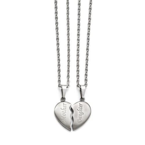 Brushed 1 2 Heart Mother Daughter Necklace Set - Stainless Steel SRSET28