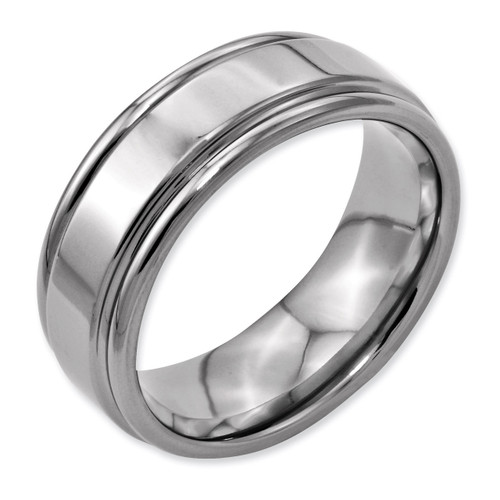 Grooved Edge 8mm Polished Band - Titanium TB40_CH