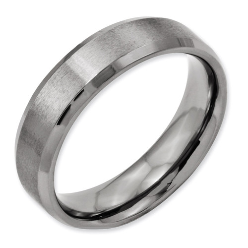 Beveled Edge 6mm Brushed and Polished Band - Titanium TB9