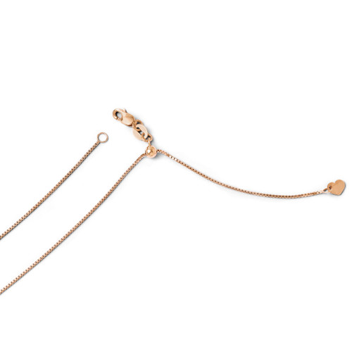 Adjustable .8mm Box Chain 22 Inch - 14k Rose Gold 1232-22