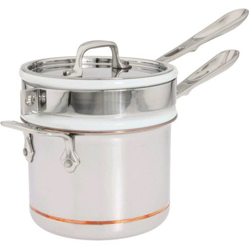 All Clad Copper Core 2 Qt. Sauce Pan with Porcelain Double Boiler & Lid