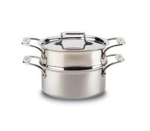 All Clad d5 Brushed Stainless 3 Qt. Casserole with Steamer