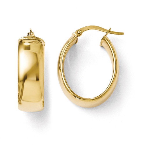 Polished Oval Hoop Earrings - 14k Gold LE295
