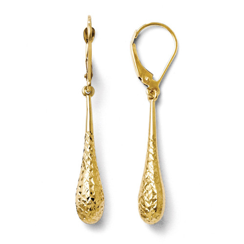 Diamond-cut Dangle Leverback Earrings - 14k Gold LE603