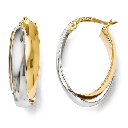 Polished Double Oval Hoop Earrings - 14k Gold Two-tone LE624