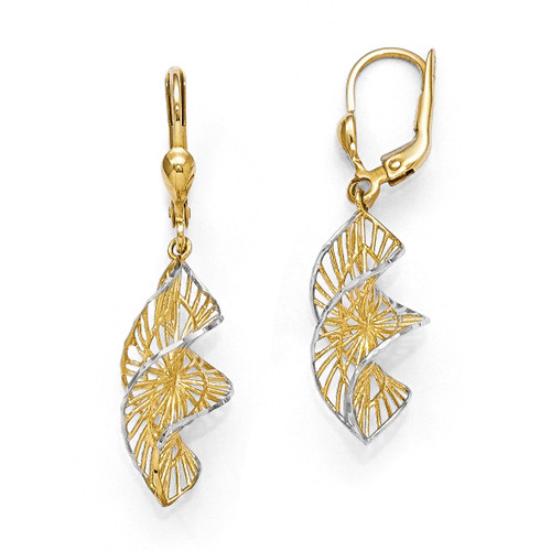 White Rhodium Textured and Diamond-cut Leverback Earrings - 14k Gold LE668