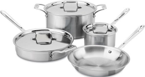 All Clad d5 Brushed Stainless 5-Ply 7-Piece Cookware Set