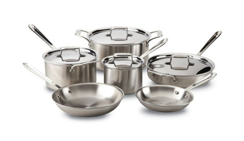 All Clad d5 Brushed Stainless 5-Ply 10-Piece Cookware Set