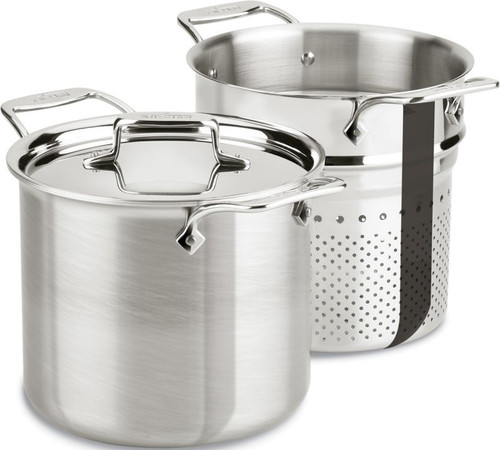 All Clad d5 Brushed Stainless 5-Ply 7 Qt. Pasta Pentola with Lid and Insert