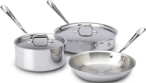 All Clad Stainless Steel 3-Ply 5- Piece Cookware Set