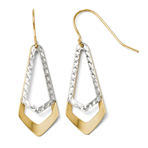 Diamond-cut Shepherd Hook Dangle Earrings - 10k Gold Two-Tone TB13