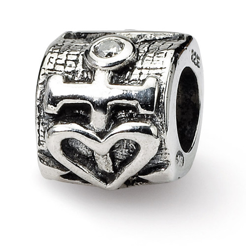 Heart and Anchor Synthetic Diamond Bead - Sterling Silver QRS1229