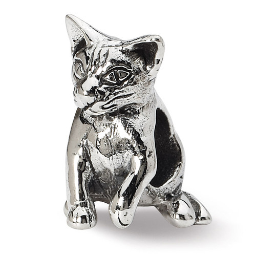 Abyssinian Cat Bead - Sterling Silver QRS1282