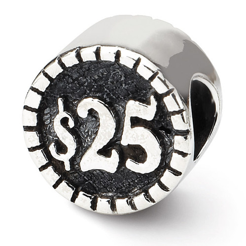 2-sided Vegas Bead - Sterling Silver QRS1288