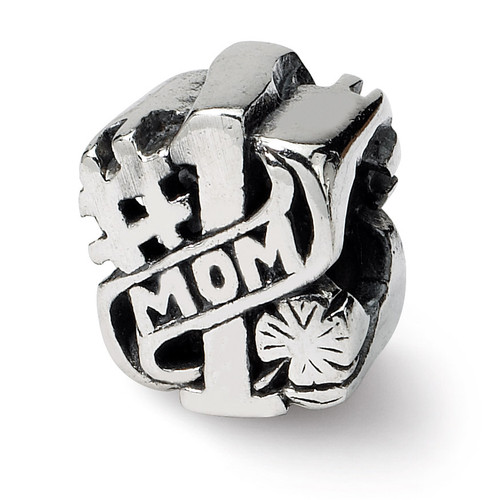 #1 Mom Bead - Sterling Silver QRS1623