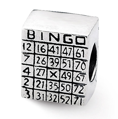 Bingo Card Bead - Sterling Silver QRS1936